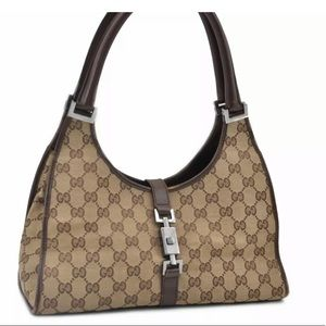 Authentic GUCCI Jackie Tote Bag Canvas Leather